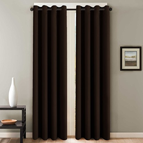 Chocolate Window Panels (H.Versailtex Three Pass Microfiber Blackout Thermal Insulated Grommet Panels Window Curtains / Drapes (Set of 2, Chocolate Brown, 52 x 96)