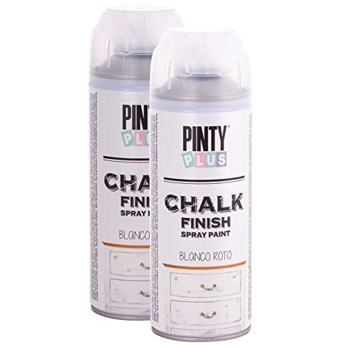 PintyPlus Chalk Finish Spray Paint, Eco Friendly, Water Based, Fast Dry, One Coat Coverage, 400 ml, Pack of 2 Cans, (Broken White)