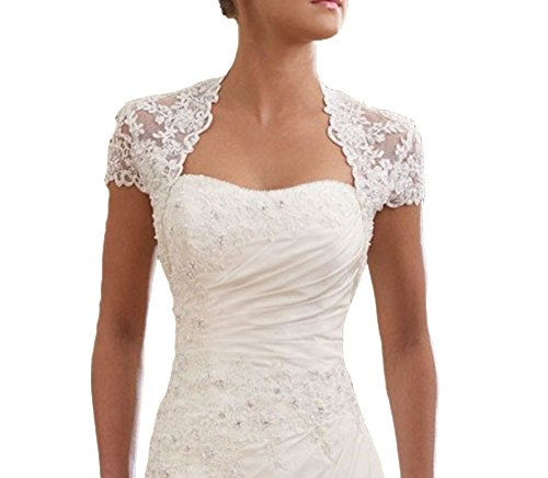 Snowskite Women's Elegant Cap Sleeves Lace Wedding Bridal Bolero White 8