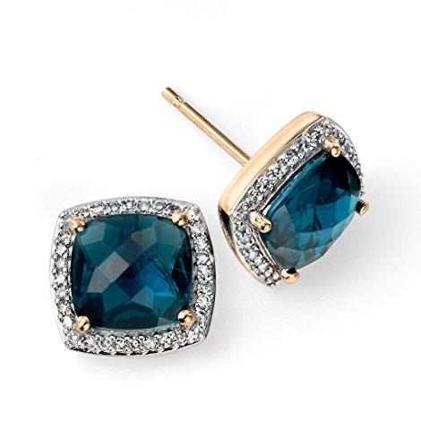 Jewellery World Bague en or jaune 9carats avec Topaze Bleu Londres Damier Boucles d'oreilles avec diamant Surround