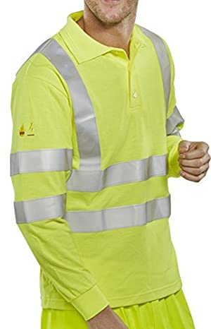 Click Hi-Viz Flame Retardant Anti Static Long Sleeve Polo Shirt Saturn Yellow XXXL by B-Click Fire Retardant