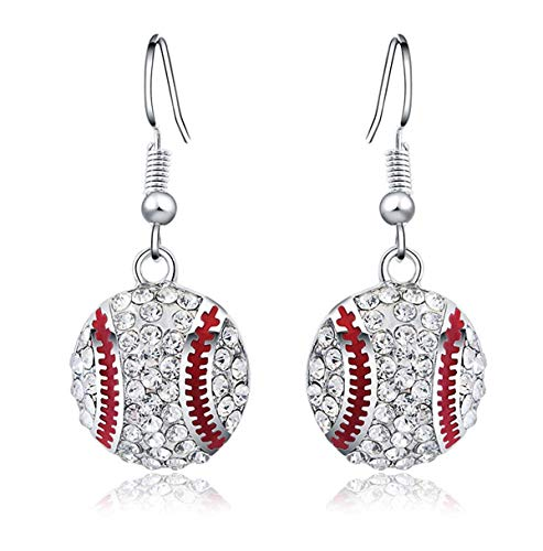 CNZONE Baseball Earrings Dangle for Women Silver Plated Crystal Jewelry