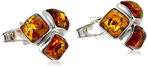 Men's Sterling Silver Honey Amber Mosaic Designer Cuff Links ()