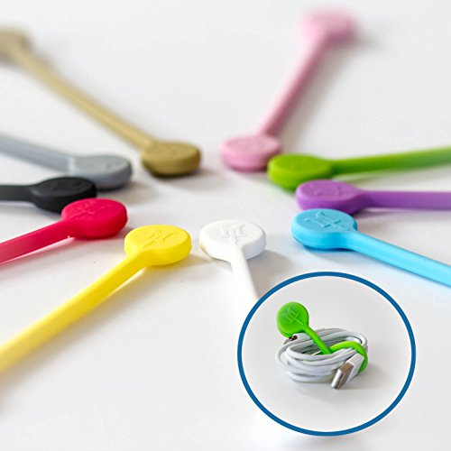 Heavy Duty 10 Pack Magnetic Silicone Cable Management Cord Holders - Twist Tie Wraps - Unique Tangle Free Wire Keeper Winder Straps For Music Accessories, Headphones, Earbud Clips, Cell Phone, Tablet