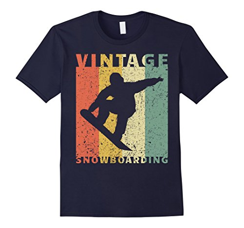 Mens Snowboarding T-Shirt Vintage Jumping Snowboarder Large Navy