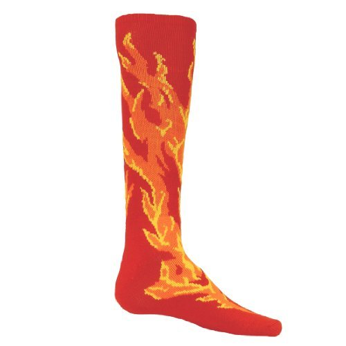 HOT!! Flame Patterned Athletic Socks (Small, Red)