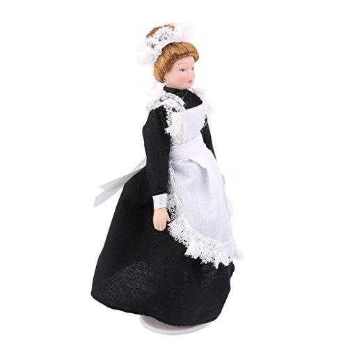 MagiDeal 1:12 Scale Maid Servant In Black Dress Dolls House Victorian Porcelain Dolls