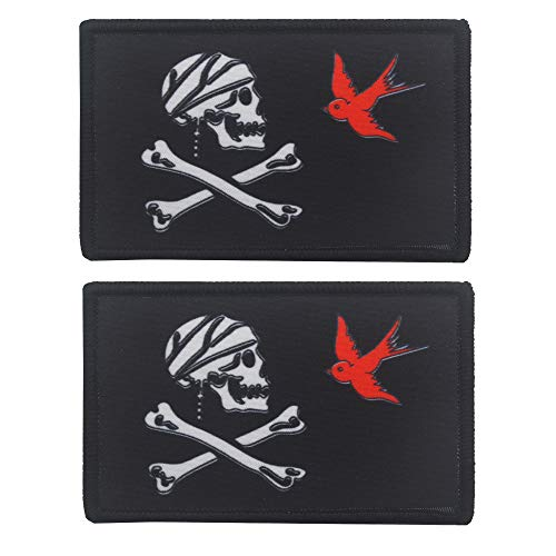 - Pirate Jack Sparrow Skull Crossbones Tactical Military Embroidered Fastener Hook Loop Patch