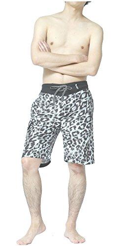 SAFS Men's Board Shorts Animal Print Surf Pants Leopard White (Leopard Print Swim Trunks)