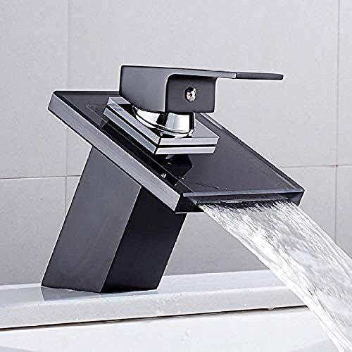 CHENBIN-BB タップ流域ミキサータップタップの浴室の滝の蛇口ガラスの滝の真鍮流域の蛇口の浴室のミキサーのタップのデッキは流域シンクミキサータップをマウント