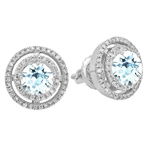 Dazzlingrock Collection 14K Round Aquamarine & White Diamond Ladies Halo Style Stud Earrings, White Gold ()