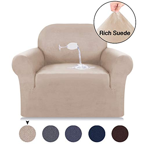 Turquoize Velvet Plush Strapless Chair Slipcover, Stretch Chair Cover, Water Repellent Spandex Slipcovers for Chairs, Velvet Plush Sofa Slipcover Slid Resistant Furniture Protector (Chair, -