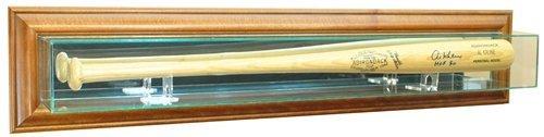 Baseball Bat Wall Mounted Glass Display Case with Walnut Frame