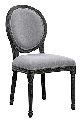 Oval Back Dining Room Chairs Grey and Black with Wire Brushed (Set of ()