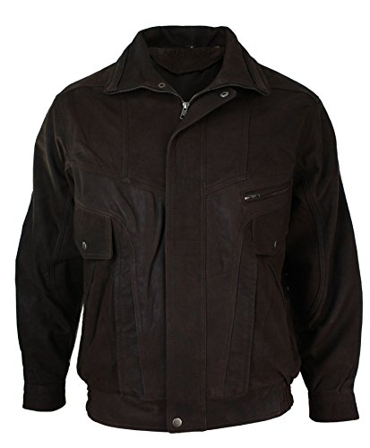 Jacket Nubuck Leather Bomber Real Brown Classic Brown Black Mens Washed tx8aB7wnq