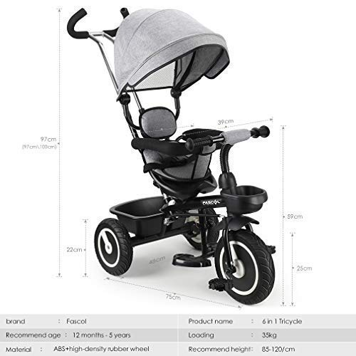 5fd7b7285df Fascol 6 in 1 Kids Tricycle with Adjustable Children Trike Bike Awning  Suitable for 12 Months -5 Years old kids Maximum Weight 35 kg (Gray):  Amazon.co.uk: ...