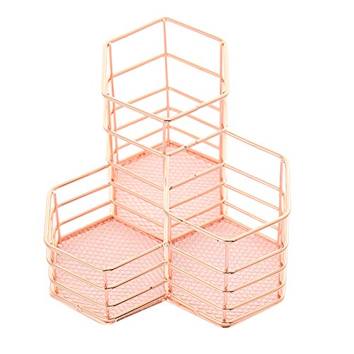 Pen Cup Holder for Desk Tidy Hexagon Iron Hollow Makeup Brush Organizer Stationery Storage Container Pencil Marker Gel HOL (Best Irons For Sweepers)