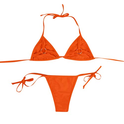 FEDULK Womens Bikini Set Two Piece Bandeau Bandage Push-Up Brazilian Swimwear Bottom Beachwear Swimsuit(Orange, Large)]()