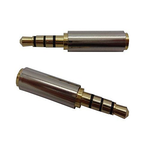 Caxico 2PCS Gold Plated 3.5mm Male to 2.5mm Female Headphone Audio Adapter Jack Stereo or Mono for Apple iPhone 3GS 4G 4S 5 Samsung Galaxy S3 S4 Galaxy Note 2 iPad 2 3 4 iPad Mini