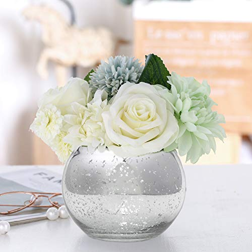Lynnsdecor Set of 3 Bling Vase Round Golden Vase Silver Vase Rose Gold Vase Table Vase Party Vase Wedding Vase Centerpiece (Silver, Large)