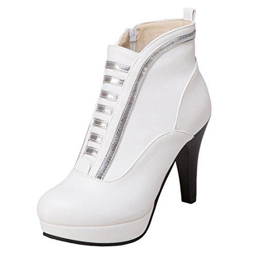 AIYOUMEI Damen Geschlossen Stiletto High Heels Stiefeletten mit Plateau und Reißverschluss Herbst Schuhe Weiß
