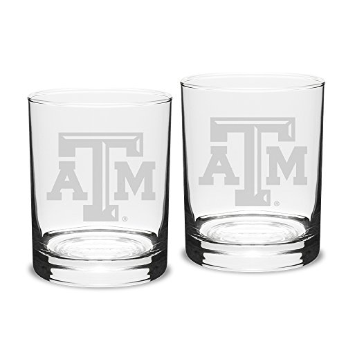 NCAA Texas A&M Aggies Adult Set of 2 - 14 oz Double Old Fashion Glasses Deep Etch Engraved, One Size, Clear
