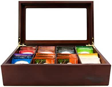 The Bamboo Leaf Wooden Tea Storage Chest Box with 8 Compartments and Glass Window (Cherrywood)