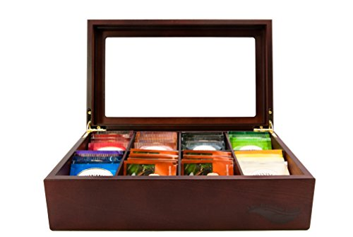 Tea Box (The Bamboo Leaf Wooden Tea Storage Chest Box with 8 Compartments and Glass Window (Cherrywood))