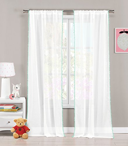 Set of Two (2) Sheer Pole Top Window Curtain Panels: Pure White with Sea Foam pom-poms, 76