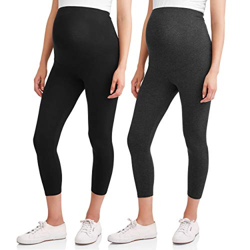 (RUMOR HAS IT Maternity Over The Belly Capri Crop Support Leggings (Small, Black-Charcoal (2 Pack)))