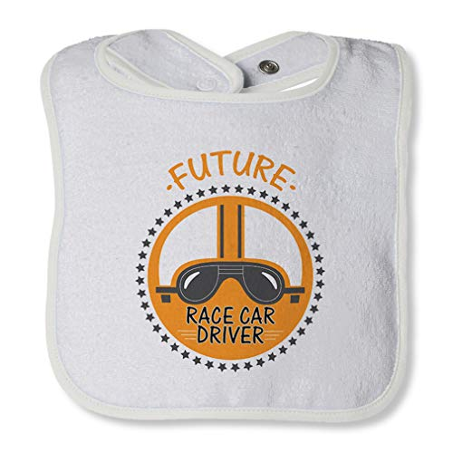 (Future Race Car Driver Cotton Boys-Girls Baby Terry Bib Contrast Trim - White, One Size)
