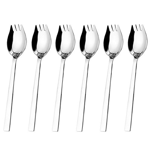 Hiware Sporks 6-pack 18/10 Stainless Steel Sporks for Everyday Household Use, 8.2-inch / 1.9-ounce/Ice Cream spoon & Salad Forks, Fruit Appetizer Dessert