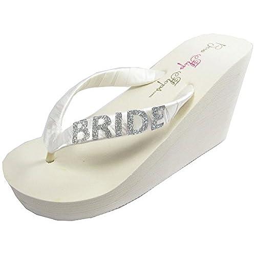 c1a8627558c Bridal Flip Flops Bride Bling Glitter Wedge Wedding Platform Sandals Satin Flip  Flops Shoes 70%