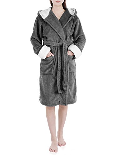 Genuwin Womens Robe Knee Length Plush Robe Hooded Bathrobe Lounge Robe S~XL (Heather Dark Gray, Large ()