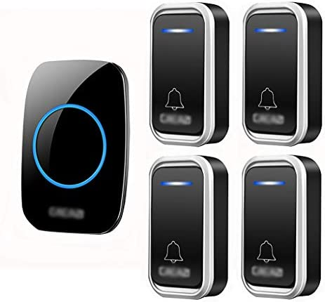 ワイヤレスチャイム呼び鈴リモートコードレスIP44防水ドアチャイムキット4トランスミッターと1レシーバー300M範囲38曲選択可能3段階音量調節&LEDフラッシュブル