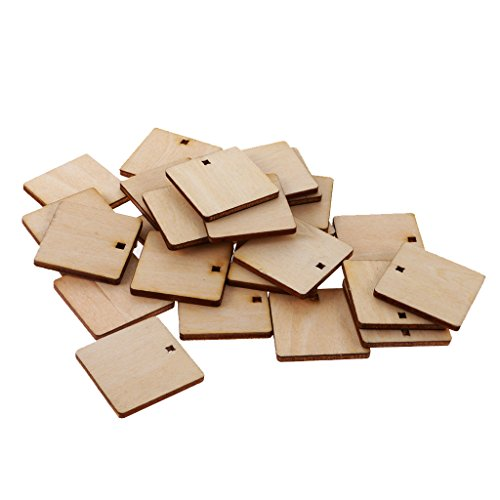 Jili Online 100 Pieces Squares Unfinished Wood Cutout for Creating Jewelry Painted Decorated/Craft (Painted Wood Shapes)