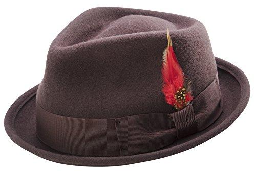 (MONTIQUE Bogart Stingy Brim Hat - Fine Heather Wool Felt - Medium, Brown - Teardrop Dent - Coordinating Grosgrain Ribbon and Feather Accent - H-54)