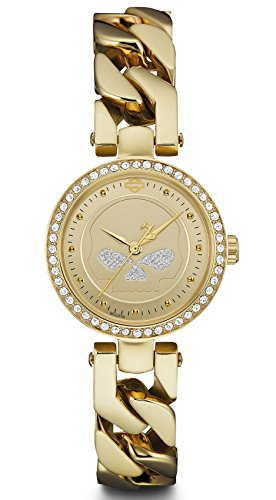 Harley-Davidson Women's Willie G Skull Crystal Embellished Watch, Gold 78L121