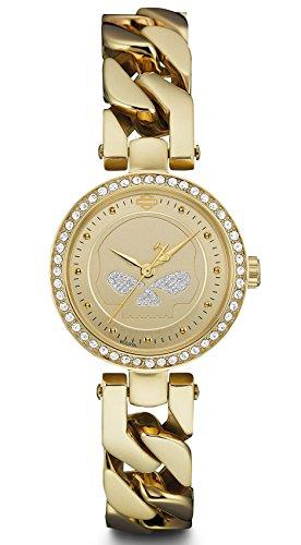 Harley-Davidson Women's Willie G Skull Crystal Embellished Watch, Gold 78L121
