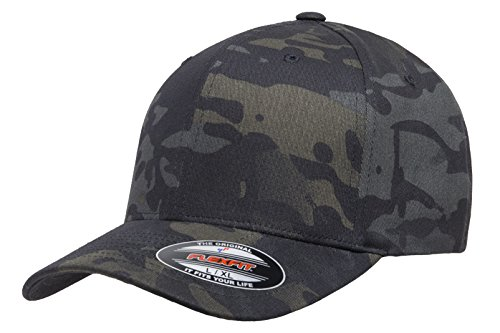 Cap Hat Flex (Flexfit Multicam Camo 6 Panel Baseball Cap Officially Licensed Multi-Cam 2 Patterns Black Camo Or Green Camo (Large/X-Large, Black Multicam))
