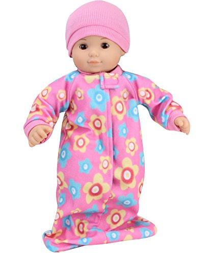 15 Inch Fleece Print Sleeper Sack & Pink Hat fit for Bitty Baby
