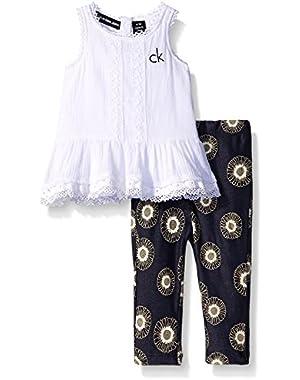 Baby Girls' Crinkled Gauze Tunic and Printed Knit Denim Leggings