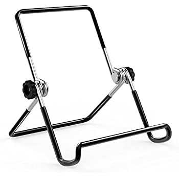 """MoKo Foldable Tablet Stand, Universal Adjustable Portable Metal Holder Cradle for 9-12.9"""" Tablets, Fit iPad Pro 10.5/9.7, iPad Air, Samsung Tab E 9.6/Tab A 10.1, ASUS Zenpad, Nintendo Switch, BLACK"""