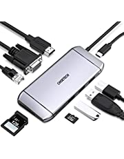 USB C Hub, CHOETECH 9 in 1 Usb C Adapter with 100W PD Power, 4K HDMI Output, RJ45 Ethernet, 60HZ VGA, 3 USB 3.0, SD/TF Card Reader, Type C Hub for MacBook Pro/ Air, iPad Pro, and More Type C Devices