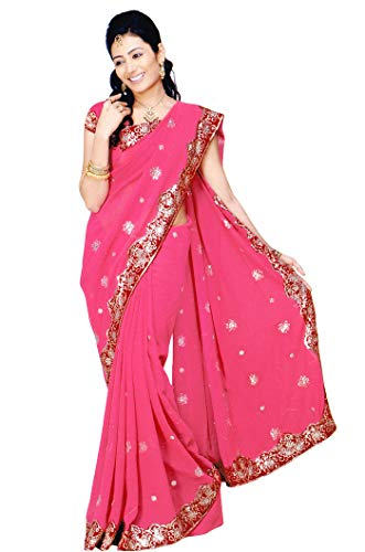- Indian Trendy Women's Bollywood Sequin Embroidered Sari Festival Saree Unstitched Blouse Piece Costume Boho Party Wear (Watermelon)