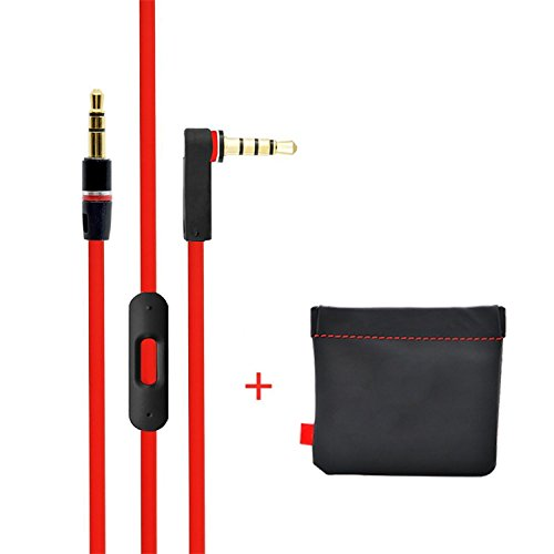Replacement Cable/Wire for Beats By Dre Headphones Solo, Studio, Mixr, Wireless w/ Storage Leather Pouch (Red & Black)