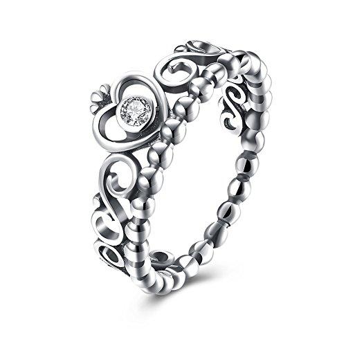 925 Sterling Crown Silver (EnjoIt Fashion 925 Sterling Silver Crown Princess Diamond Ring Women's Love Rings)