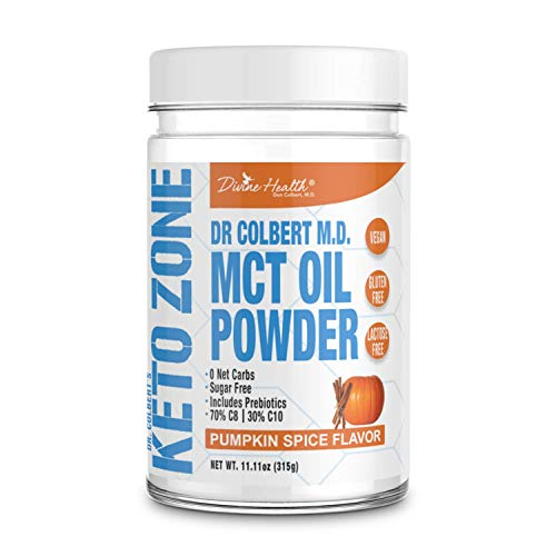 Dr.Colberts Keto Zone MCT Oil Powder (Pumpkin Spice Flavor) (300 Grams) (30 Day Supply) - Recommended in Dr. Colberts Keto Zone - Alternative Coffee Creamer - Ketogenic - Dairy Free - Soy Free
