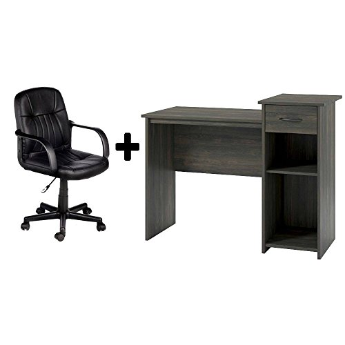 Leather Oak Desk (Student Home/Office Bedroom Furniture Indoor Desk in Rodeo Oak with Durable Split-cow Leather Mid-Back Chair in Black, Bundle Set)