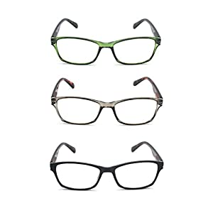 EYE-ZOOM 3 Pairs Classic Style Reading Glasses with Spring Hinge Comfort Fit for Men and Women Choose Your Magnification, Black, Green Tortoise and Grey, +3.50 Strength